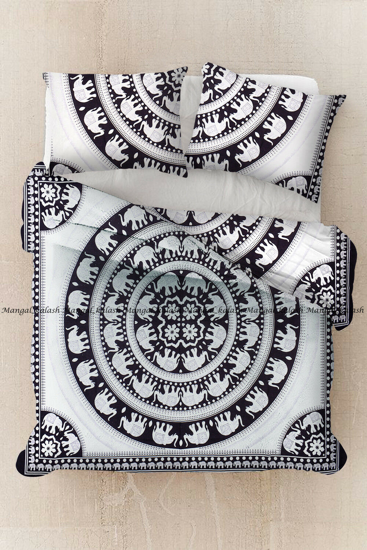 Indian elephant mandala bohemian cotton duvet cover hippie quilt comforter cover