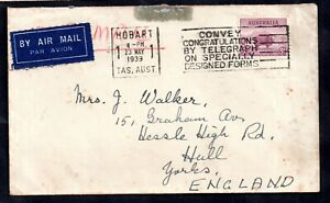 Australia-1939-5d-Airmail-Slogan-cover-to-England-WS14620