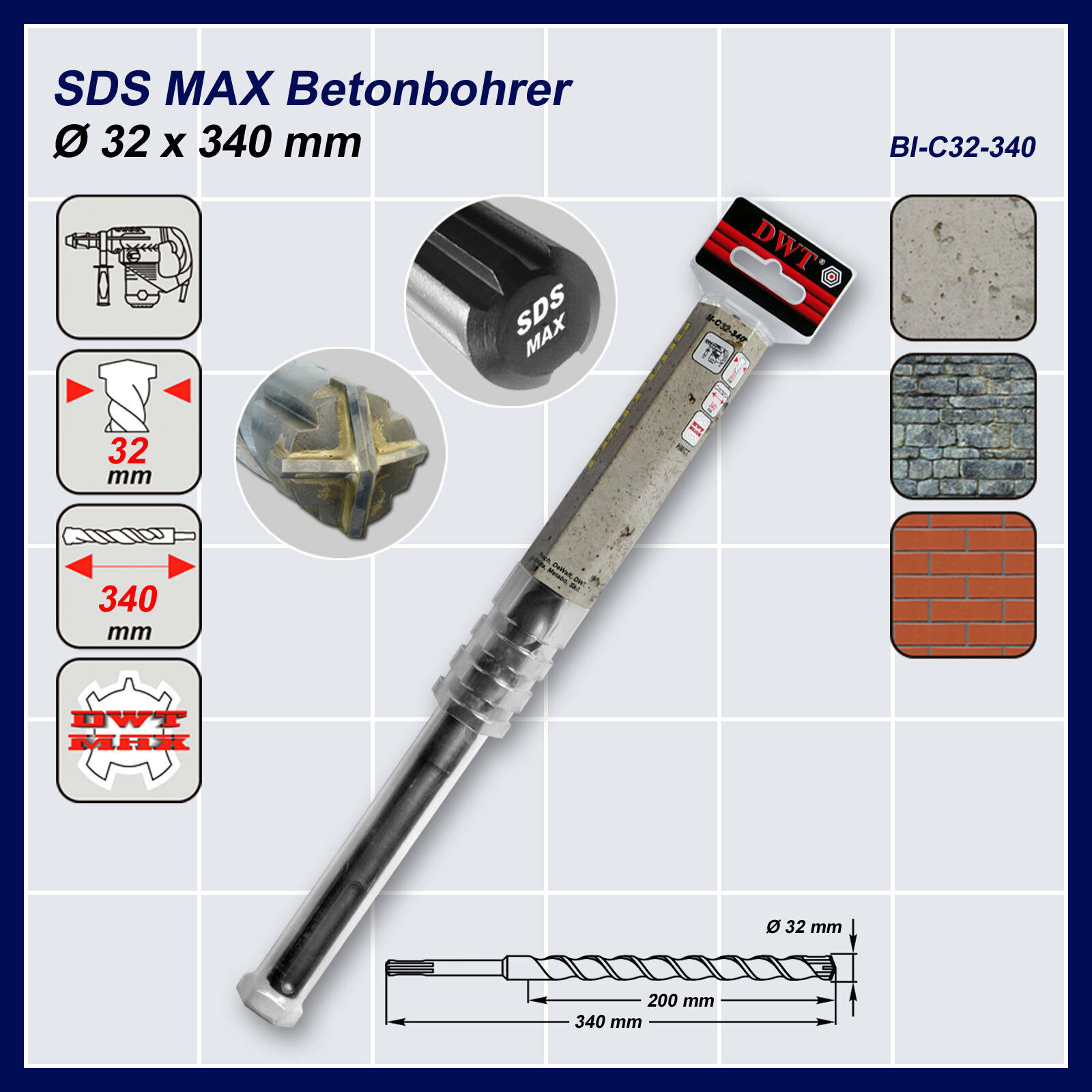 SDS MAX Hammerbohrer Betonbohrer Kreuzschneide Ø 32 x 340-540-920 mm zur Auswahl