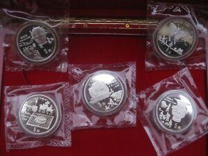 China 5 x 5 Yuan 1992 discovery-set 4 x double sealed Box & COA Mintage 15000