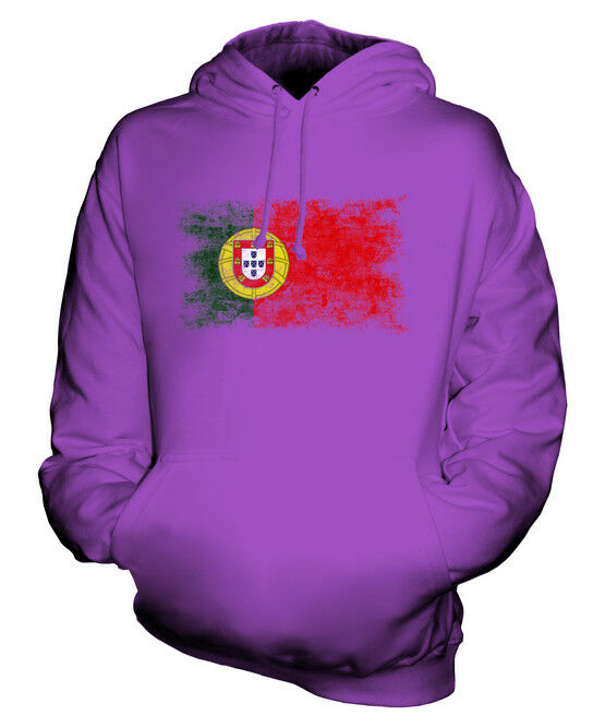PORTUGAL DISTRESSED FLAG UNISEX HOODIE TOP PORTUGUESE  FOOTBALL JERSEY