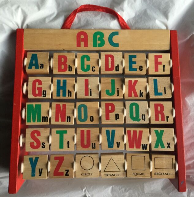 Vintage Standing Wooden Alphabet Shapes & Pictures Abacus ...