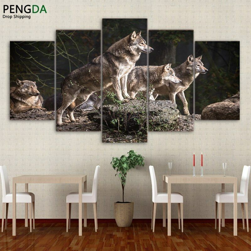Wolf Group Painting 5 Panel Canvas Print Wall Art Poster Home Decor