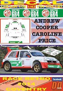 05 DECAL MG METRO ANDREW COOPER RACE RETRO COVENTRY 2014
