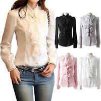 Damen Satin Rüschen business Langarm Bluse Hemd Top Office Shirt Schleifer Gr