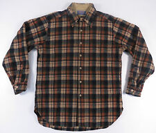 VTG PENDLETON MADE IN USA SPORTSMAN PLAID WOOL L/S BUTTON UP SHIRT FLANNEL L EUC