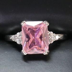 5-Ct-Princess-Pink-Sapphire-Ring-Women-Jewelry-14K-White-Gold-Plated-Free-Ship