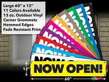 Now Open Vinyl Banner Window Sign Business Retail Store Outdoor Waterproof 60x12