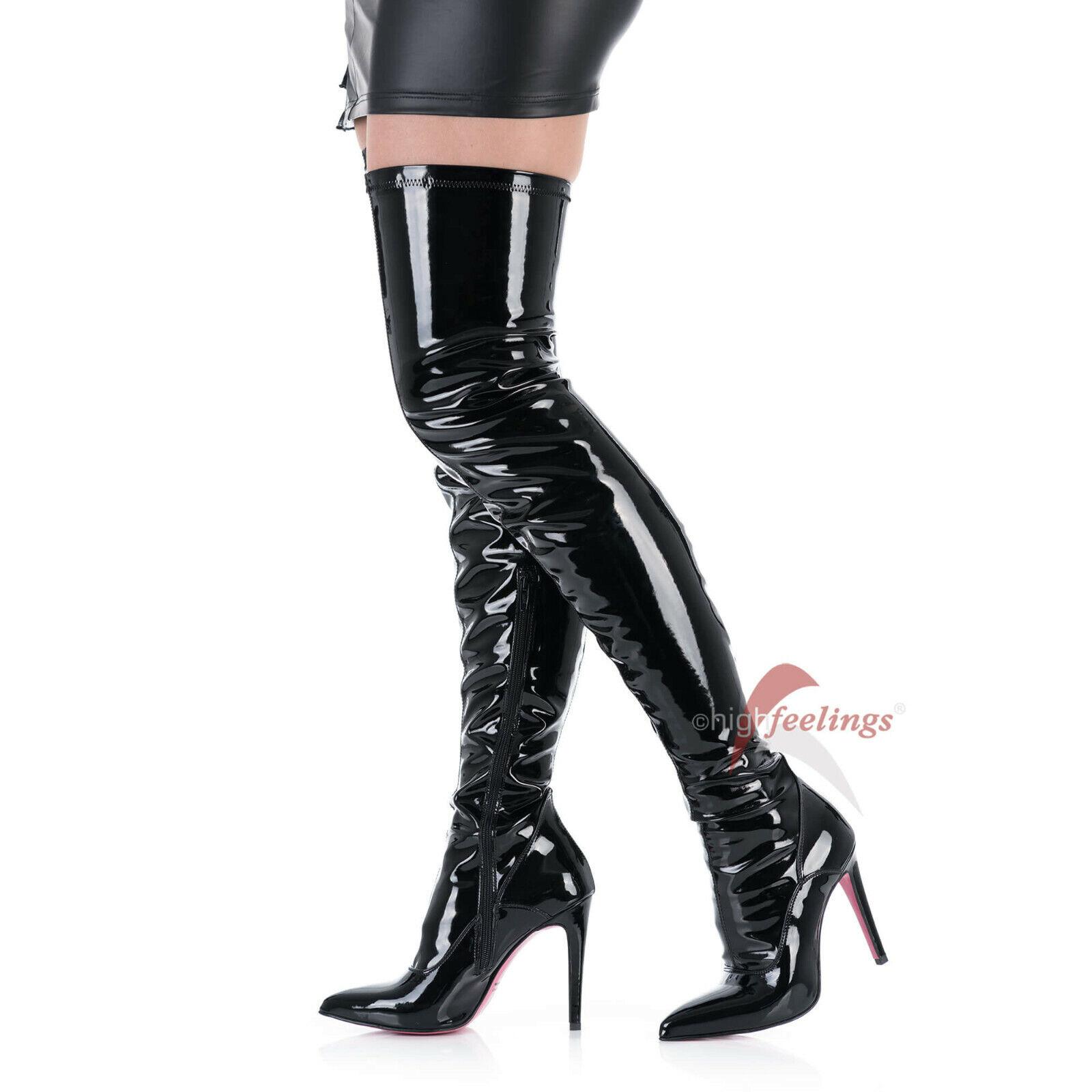 10 Stretch Schwarz Heels High Stiefel Lack Overknee 12 47