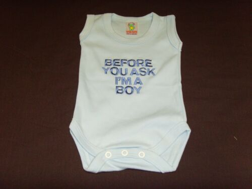 Funny Embroidered Personalised Vest Baby Shower Gift Before you ask im Boy