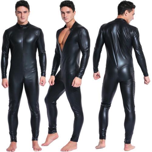Men PVC Catsuit Long Sleeves Leather Wet Look Jumpsuit Zipper Bodysuit Costume