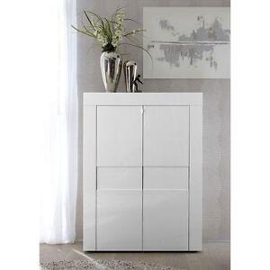 Dettagli su EASY Mobile Madia Moderno Verticale 2 Ante Bianco laccato lucido