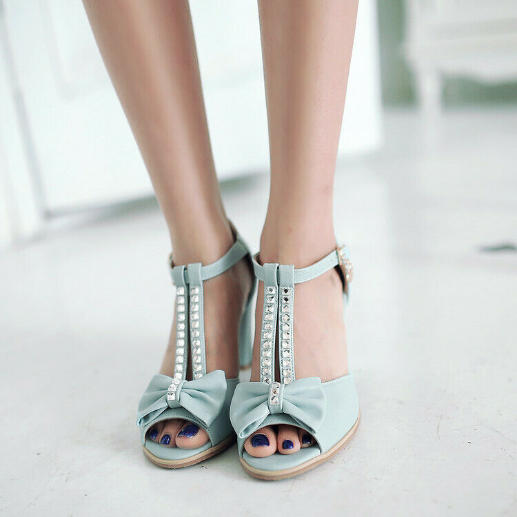 Sweet Womens Peep Toe Sandals PU Leather Block Heel T-Strap shoes Crystal Vogue