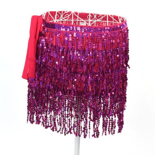 Belly Dance Costume Sequin Tassel Fringe Hip Scarf Belt Waist Wrap Skirt Uf