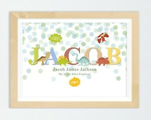 Personalised Dinosaur Name Print Baby Christening Gift Nursery Wall Art Picture - Dukinfield, United Kingdom - Personalised Dinosaur Name Print Baby Christening Gift Nursery Wall Art Picture - Dukinfield, United Kingdom