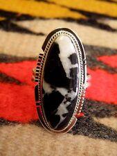 Size 10 Navajo Larson Lee Sterling Silver White Lightning Oblong Ring
