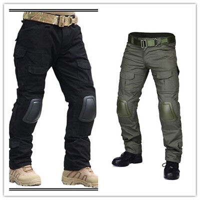 @ Tactical Military Hunting EDU Combat Airsoft Gen3 Pants with Knee Pads Black