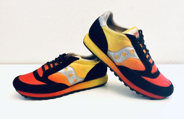 best cheap b95df cd5c2 Saucony Jazz Original Vintage Sneakers Red Yellow Black Suede Mens Size 10  1/4