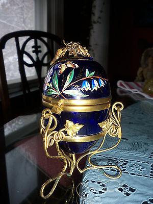 FINAL MARKDOWN Antique Cobalt Blue enameled Glass Egg Trinket Dresser Vanity Box