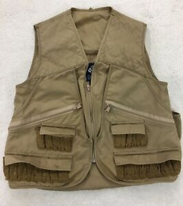 Vtg-Columbia-Beige-Hunting-Shooting-Shotgun-Quilted-Shoulder-Pockets-Mens-Small