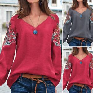 Vintage-Femme-100-coton-Col-V-Manche-Longue-Imprime-Decontracte-lache-Haut-Tops