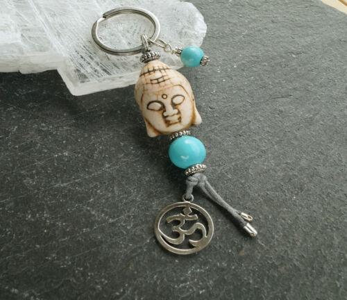 Schlüsselanhänger Buddha  Anhänger Perlen Türkis Weiss OM Sanskrit Yoga Sport