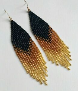 Native American Earrings Black Beaded Earrings Long Seed Bead earrings Gold bead