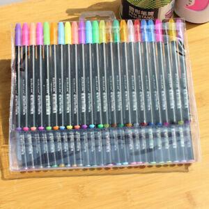 48Colors Gel Pens Art Craft Neon Glitter Metallic Pastel Gel Ink Roller Mark Pen