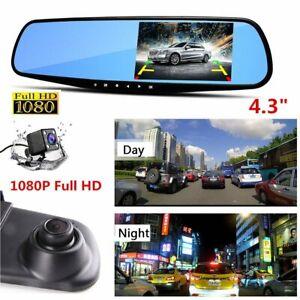 Dual-Lens-HD-1080P-4-3-034-Car-DVR-Rearview-Mirror-Camera-Dash-Cam-Video-Recorder