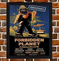 Framed Forbidden Planet Movie Poster A4 / A3 Size In Black / White Frame -