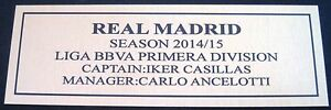 English Premier League  REAL MADRID 2014-2015  gold Sublimated Plaque