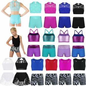 Kids Girls Sports Dance Outfit Tank Crop Top+Shorts Leotard Gymnastics Dancewear
