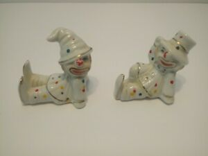 Vintage Porcelain Ceramic Clown Figurines Set of 2