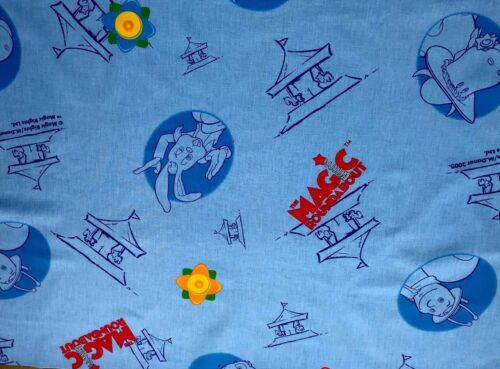 2005 Magic Roundabout Licensed Blue Fabric Panel 32 X 22 Inches Lovely
