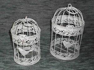 Antico Decorazione Gabbia per Uccelli 2er-Set IN Metallo Piante Fiori (W)