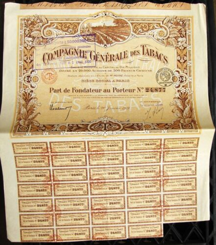 Compagnie Generale Tobacco 1919 French bond Compagnie Generale des Tabacs
