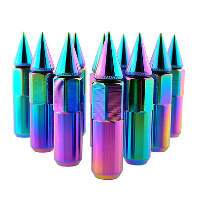 Hot 16pcs NEO Chrome Spiked 90MM Extended Lug Nuts For Wheels Tyre 12X1.5MM