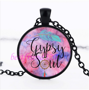 Gypsy Soul Photo cabochon verre noir chaîne collier pendentif #51