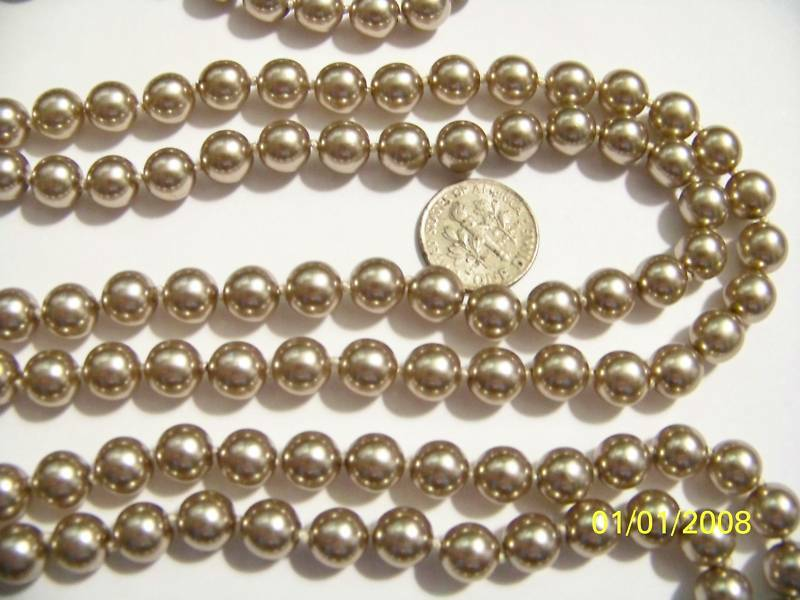 60  Endless Strand Handknotted 8mm Quality Simulated Champagne Pearls NEW