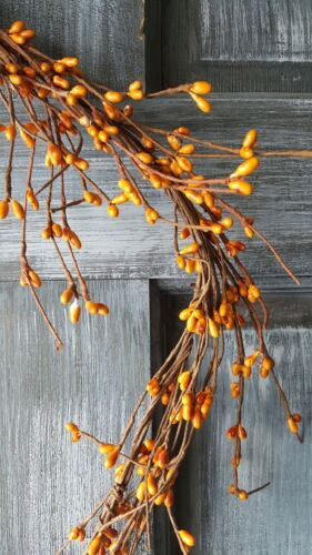 "DLCC~24/"" Orange//old gold Pip berry Garland Primitive Two feet"