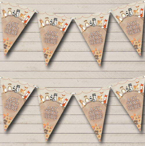 Woodland Baby Forest Animals Fox Personalised Children/'s Bunting Party Banner