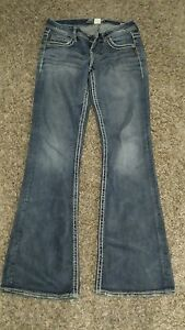 silver jeans lola flare 25 wide 33 long womens