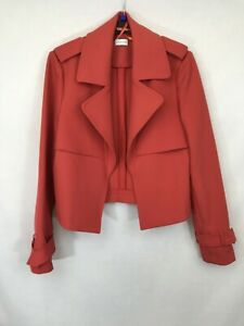 Linea-ladies-open-cropped-blazer-trucker-jacket-burned-orange-polyester-size-14