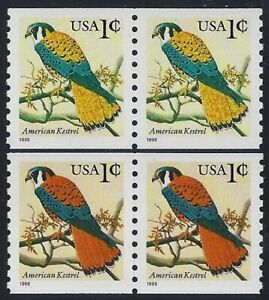 """3044a Scarce Red Color Missing Error / EFO Pair """"American Kestrel"""" Mint NH"""
