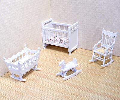 Kinderzimmer weiss 4 Teile Puppenhausmöbel Miniaturen 1:12 Melissa & Doug