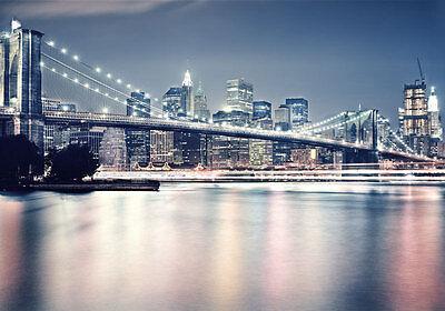 Brooklyn Bridge Night New York 3D Full Wall Mural Photo Wallpaper Home Decal Kid