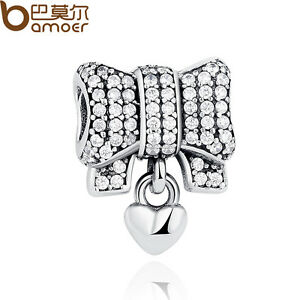 Bamoer-Authentic-925-Sterling-Silver-Charm-Heart-amp-Bow-Clear-CZ-For-Bracelet