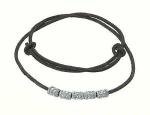 Mens-Surf-Surfer-Black-Leather-Cord-Necklace-Leather-Choker-With-Metal-Beads