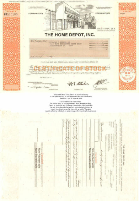 The Home Depot > collectible stock certificate share