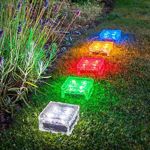 Large Solar Powered Led Glass Ice Cube Brick Outdoor Garden Patio Path Light Ebay